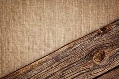 Bieliźniany tło z drewnianą deski teksturą, winietą i Zdjęcie Stock