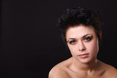 bielizna ciemny z włosami model obrazy stock
