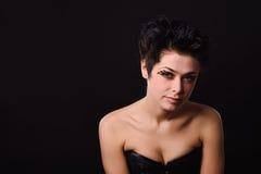 bielizna ciemny z włosami model obraz royalty free