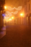 Biella by night. In the fog stock images