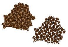 Bielorrússia - mapa do feijão de café Imagem de Stock Royalty Free