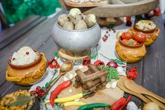 Bielorrusso tradicional e culinária ucraniana Imagem de Stock