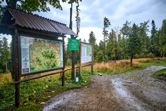 BIELSKO-BIALA, POLAND - SEPTEMBER 2, 2018: Map on the mountain t. Rail near the Szyndzielnia peak on 2 September 2018 in Bielsko-Biala, Poland. The trail to the royalty free stock photo