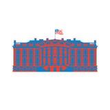 Bielu Ameryka Domowa barwiona ikona Siedziba prezydent USA USA Fotografia Stock