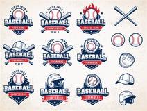 Bielu, czerwieni i błękita baseballa Wektorowi logowie,
