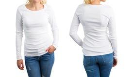Bielu długiego rękawa koszulowy szablon, przód i plecy, Fotografia Stock
