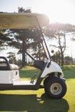 Bielu golfowy powozik na polu Zdjęcia Stock