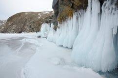 Bielu lód na Jeziornym Baikal Obrazy Royalty Free