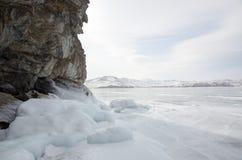 Bielu lód na Jeziornym Baikal Fotografia Stock