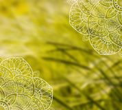 Bielu mandala koronkowy szablon na zamazanej pszenicznej fotografii zdjęcia stock