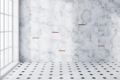 Bielu marmur i taflująca panoramiczna łazienka puści ilustracji