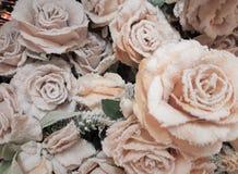 Bielu mróz na różowych różach w bukiecie zdjęcia stock