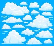 Bielu obłoczny symbol dla cloudscape tła Kreskówka chmurnieje symbole ustawiających dla chmurnego nieba klimatu ilustraci wektoru ilustracji