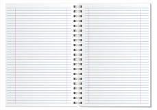 Bielu otwarty prążkowany notepad na białym tle z realistycznymi cieniami Fotografia Stock