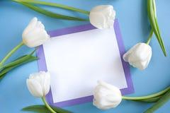 Bielu prześcieradło w bzów ramowych i białych tulipanach wokoło go na błękitnych półdupkach zdjęcie stock