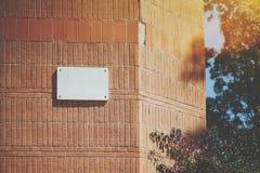 Bielu pustego miejsca domu marmurowy klasyczny nameplate fotografia stock