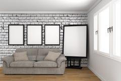 Bielu pusty izbowy wewnętrzny projekt, skandynawa styl ?wiadczenia 3 d fotografia stock