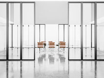 Bielu pusty pokój konferencyjny z krystalicznymi drzwiami 3d Zdjęcie Stock