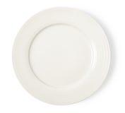 Bielu pusty talerz na białym tle Fotografia Royalty Free