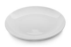 Bielu talerz na białym tle Fotografia Royalty Free