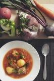 Bielu talerz z czerwonymi barszczami na stole blisko setu świeży veg Zdjęcie Royalty Free