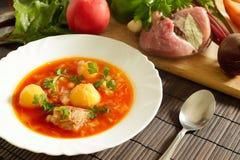 Bielu talerz z czerwonymi barszczami na stole blisko setu świezi warzywa i mięso Zdjęcie Royalty Free