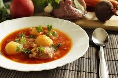 Bielu talerz z czerwonymi barszczami na stole blisko setu świezi warzywa i mięso Zdjęcie Stock