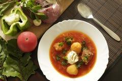 Bielu talerz z czerwonymi barszczami na stole blisko setu świezi warzywa i mięso Zdjęcia Royalty Free