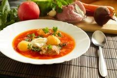 Bielu talerz z czerwonymi barszczami na stole blisko setu świezi warzywa i mięso Fotografia Royalty Free
