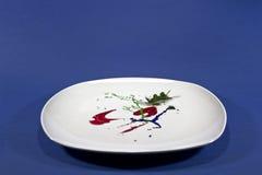 Bielu talerz z farby insead jedzenie Fotografia Royalty Free