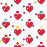 Bielu wzór z czerwonym sercem i kropkami royalty ilustracja