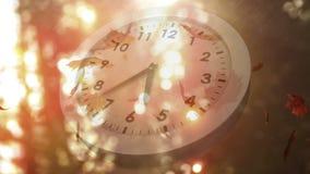 Bielu zegar i spada liście zdjęcie wideo