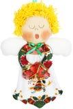 Bielu, zieleni i rewolucjonistki anioła Bożenarodzeniowa lala na Białym tle, fotografia stock