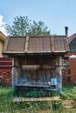 Bien de madera viejo demasiado grande para su edad con la hierba Fotografía de archivo libre de regalías