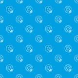 Biene auf nahtlosem Blau des Blumenmuster-Vektors stock abbildung
