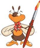 Biene der Künstler. Karikatur Lizenzfreies Stockfoto