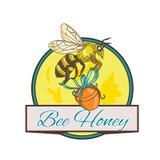 Biene, die Honey Pot Circle Drawing trägt Lizenzfreie Stockfotografie