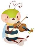 Biene, die Violine spielt Lizenzfreies Stockbild