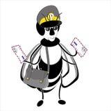 Biene gekleidet als Briefträger mit einem Buchstaben vektor abbildung