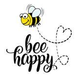 Biene glückliches ` zitiert lustiger Vektortext und Bienenzeichnung vektor abbildung