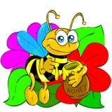 Biene mit Blumen Stockfotos