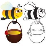 Biene mit Honig Stockfotografie