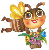 Biene mit Korb Stockfoto
