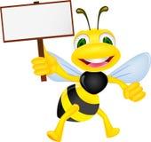 Biene mit leerem Zeichen Stockbild