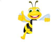 Biene mit unbelegtem Zeichen Lizenzfreies Stockfoto