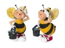 Biene mit Wanne - kleines Spielzeug Stockbild