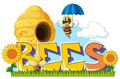Bienen, die herum in Garten fliegen vektor abbildung