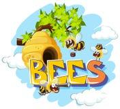 Bienen, die um Bienenstock fliegen stock abbildung