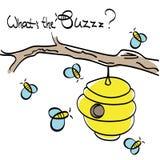 Bienen, die um den Bienenstock fliegen stock abbildung