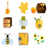 Bienen-Ikonen-Satz Lizenzfreies Stockfoto